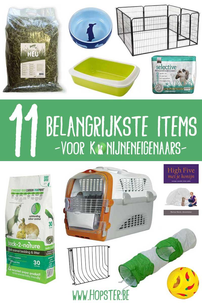 11 belangrijkste items voor konijneneigenaars | Konijnenadviesbureau Hopster